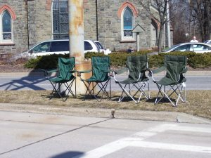 Spectator's Chairs on Parade Route