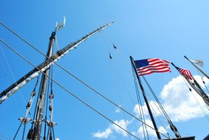 The masts of the Nina and Pinta.